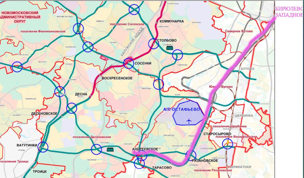 Схема дорог в бирюлево
