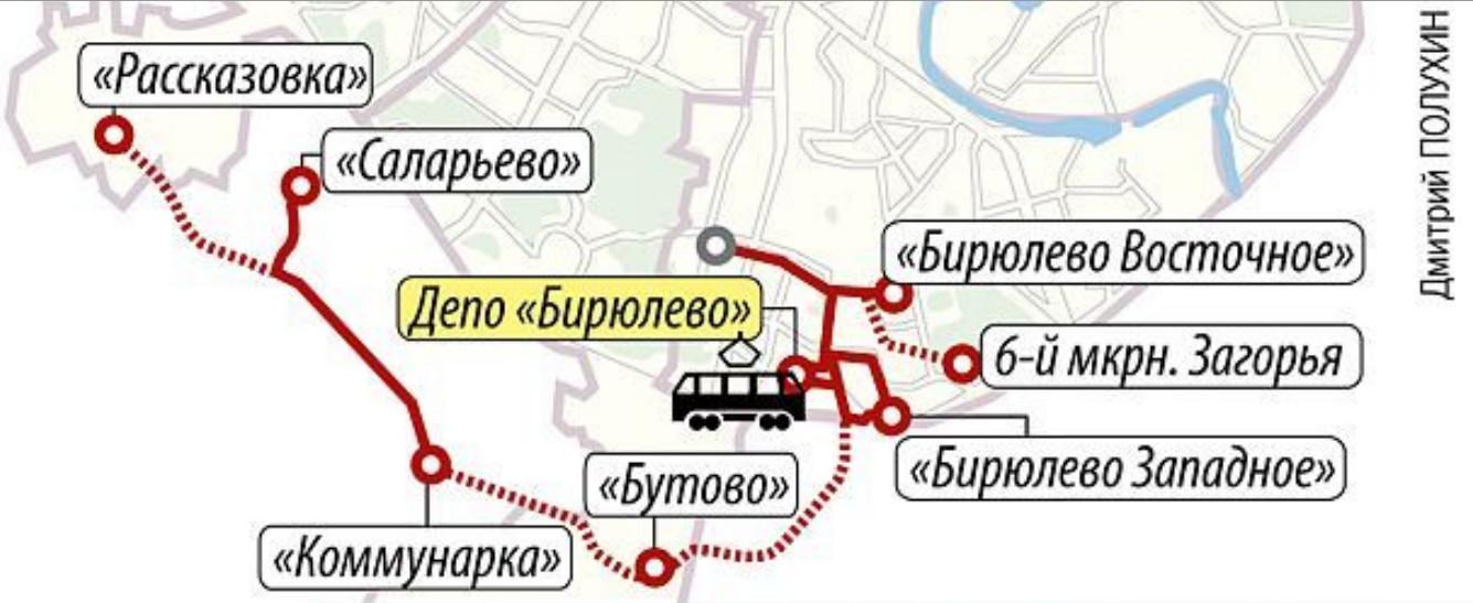 Схема трамваев от бирюлево-западное